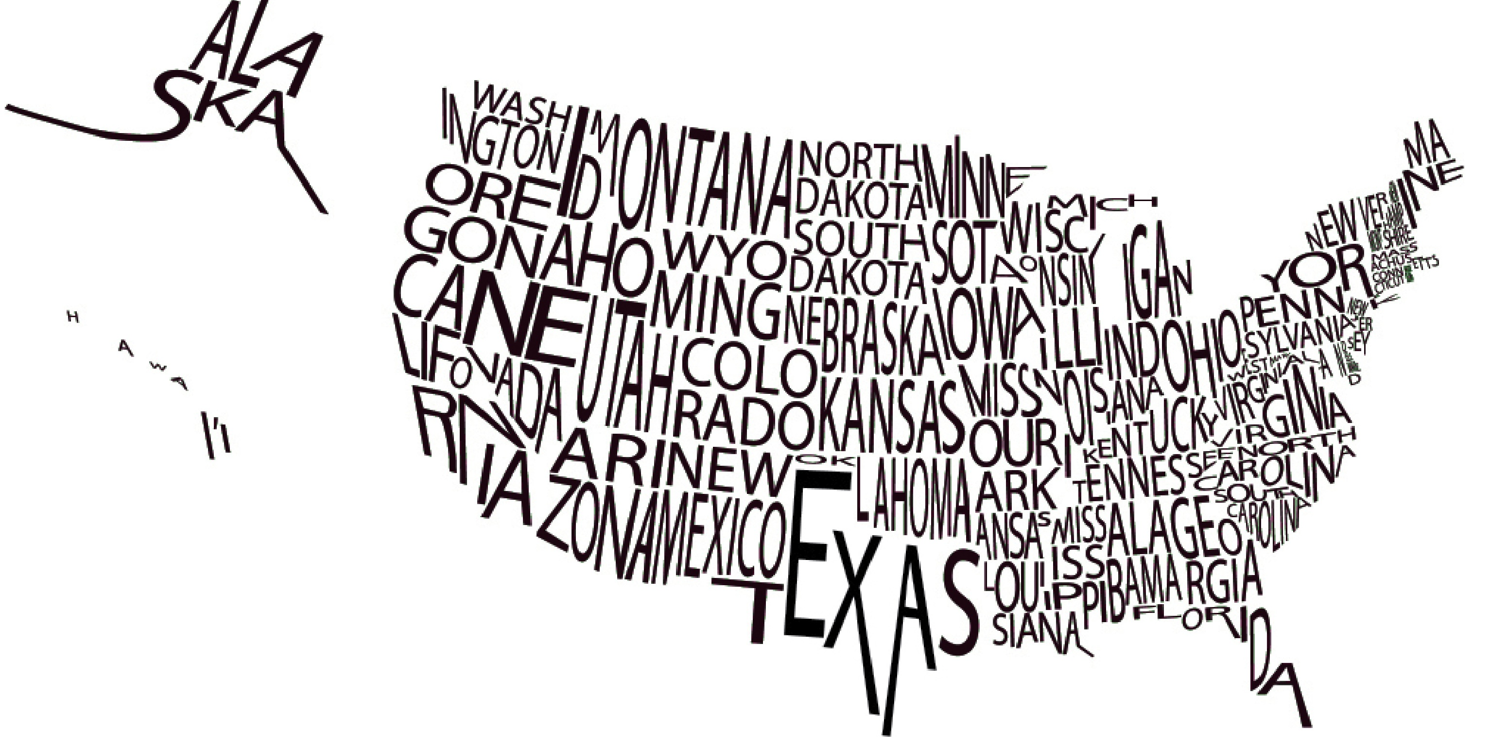 us map with words. where do you live  lucky enough