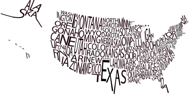 us map with words